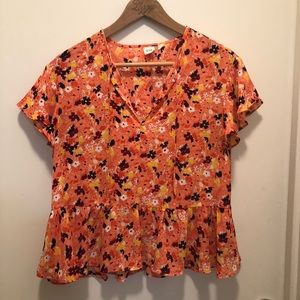 Orange GAP blouse with peplum bottom